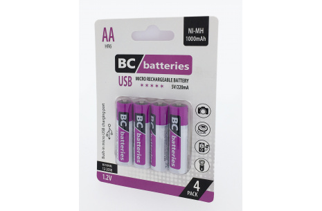 USB Nabíjecí 1,2V AA tužková baterie BC batteries