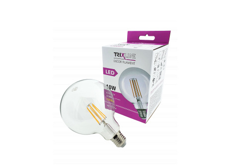 dekorációs LED izzó FILAMENT Trixline 10W G-125 E27 meleg fehér