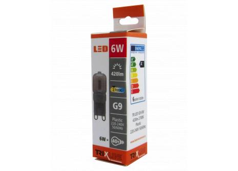 LED izzó BC TR 6W G9 meleg fehér