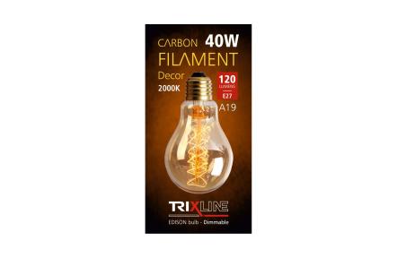 dekorációs halványítható izzó Trixline 40W E27 (A19-S24)