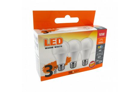 TRIXLINE LED izzó 10W A60 E27 meleg fehér 3 PACK