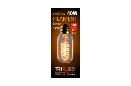 dekorációs halványítható izzó Trixline 40W E27 (T45-S24)