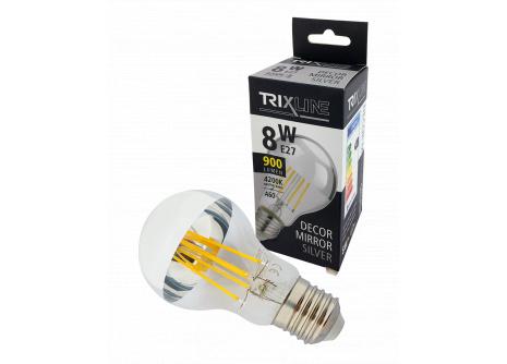 Dekorační LED žárovka Trixline DECOR MIRROR A60, 8W E27 SILVER