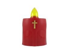 LED-es  temetö gyertya kereszttel piros