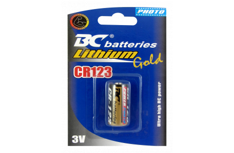 Alkalická 3V válcová baterie BC CR123