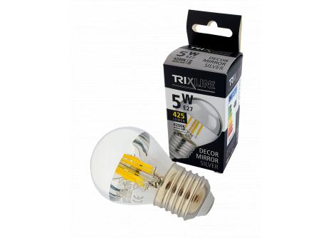Dekorační LED žárovka Trixline DECOR MIRROR P45, 5W E27 SILVER