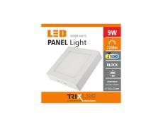 Mennyezeti LED lámpa TRIXLINE – felületre szerelhetö négyszögletes 9W meleg fehér