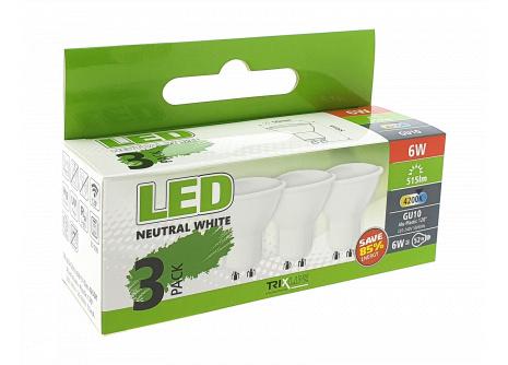LED izzó BC TR 6W GU10 neutrál fehér 3 PACK