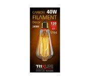 dekorációs halványítható izzó Trixline 40W E27 (ST64-SC17)