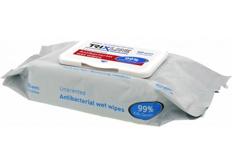 Antibakteriális kéztörlő kendő TRIXLINE 60db TR M391