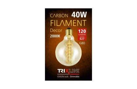 dekorációs halványítható izzó Trixline 40W E27 (G80-S24)