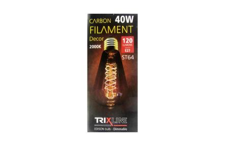 dekorációs halványítható izzó Trixline 40W E27 (ST64-S24)