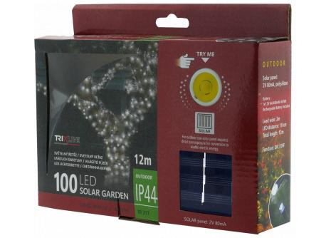 Napelemes karácsonyi LED fényfüzér TR 317 hideg fehér
