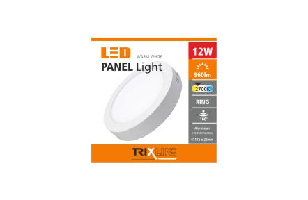 mennyezeti LED lámpa TRIXLINE – felületre szerelt kerek 12W meleg fehér