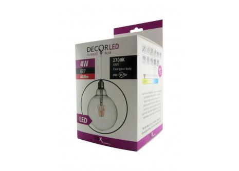 dekorációs LED izzó FILAMENT Trixline 4W G-125 E27 meleg fehér