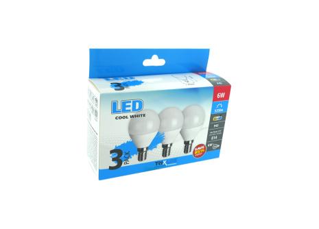 LED izzó BC TR 6W E14 P45 hideg fehér 3PACK